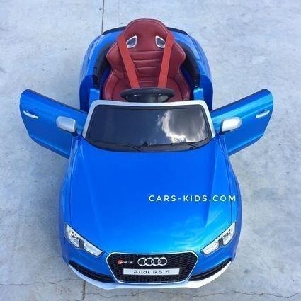 Электромобиль Audi RS5 синий (резиновые колеса, кожа, музыка, пульт)