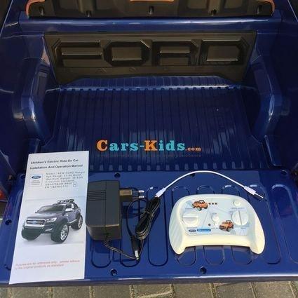 Электромобиль Ford Ranger F650 4WD синий (2х местный, колеса резина, кресло кожа, пульт, музыка)