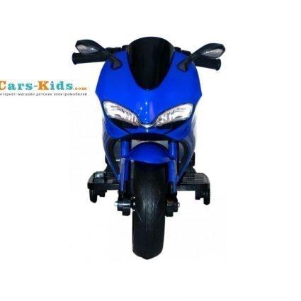 Детский электромотоцикл Ducati 12V- FT-1628 синий (колеса пластик с резиновой проставкой, сиденье кожа, музыка, страховочные колеса)